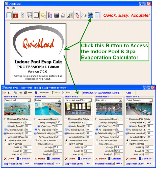 Qwickload hvac heat load calculation software program air - Swimming pool evaporation control ...